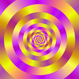 Yellow and Pink Spiral Rings / A digital abstract fractal image with a ringed spiral design in yellow and pink. - 89398644