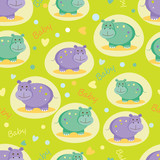 Seamless pattern with cute hippos