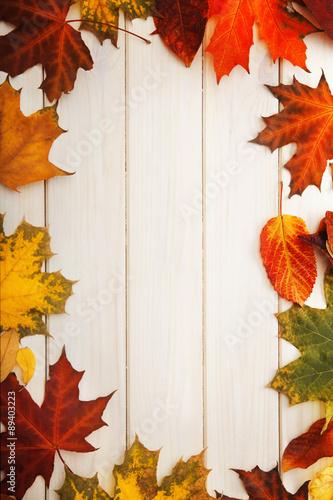 Panel Szklany autumn leaf on wood background