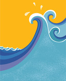 Fototapety Sea waves poster. Vector illustration of sea landscape.