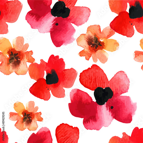 Seamless background with red poppies watercolor.