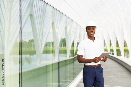 Engineer with Digital Tablet Poster