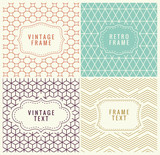 Fototapety Retro Mono Line Frames with place for Text