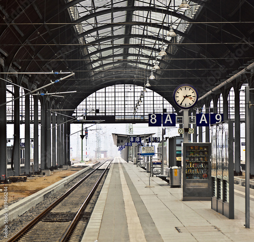railway station with watch in Wiesbaden