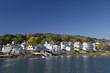 Coastal Maine shoreline with fall colors.Maine