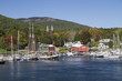 Camden Harbor with sailing ships called windjammers used now for tourist trips.Camden,Maine