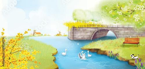 Leinwanddruck Bild Illustration of beautiful nature