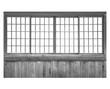Traditional Japanese house wood sliding door isolated on white background