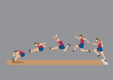 Long Jump in Action Sequential Vector Icons poster