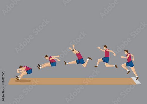 poster of Long Jump in Action Sequential Vector Icons
