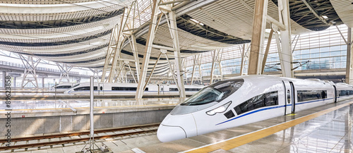 Foto op Canvas Peking Modern high speed train at the railways station.