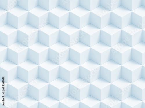 Fotobehang 3d Achtergrond Abstract blue 3D geometric cubes background - seamless pattern