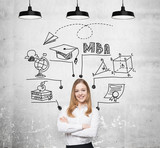 A young smiling lady is thinking about MBA degree. Educational chart is drawn behind her. A concept of further business education. Concrete background. poster