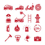 Fire and Firefighter Monochrome Icons Set, Emergency, Fireman, Equipment and Vehicle