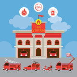 Fire Station and Vehicle, Emergency, Fire and Equipment