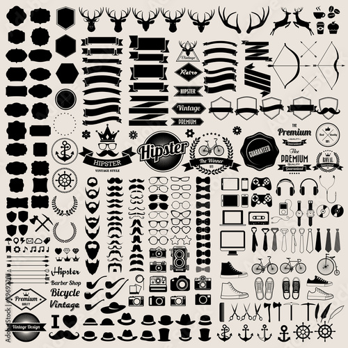 Fotobehang Hipster Hert Hipster style infographics elements and icons set for retro desi