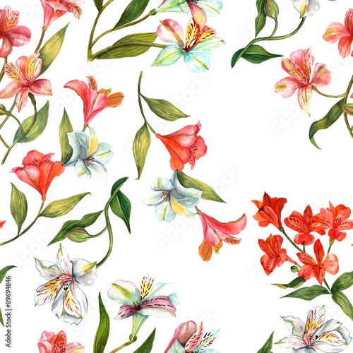 Panel Szklany Seamless watercolor flowers (alstroemerias) background pattern