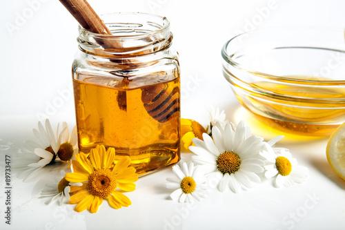 Poster still life of honey