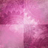 Fototapety pink and white background blocks or squares with faded old vintage texture and floral pattern, rustic shabby chic background design