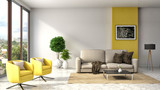 interior with sofa. 3d illustration - 89750095