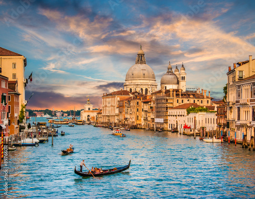 Canal Grande with Santa Maria Della Salute at sunset, Venice, Italy Poster