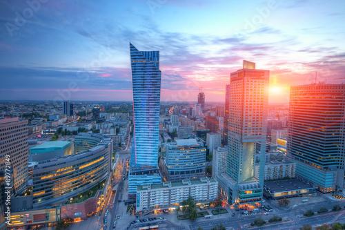 Panel Szklany Panorama Warszawy o zachodzie słońca