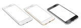Set of Smartphones with blank screen lying on flat surface - 89781074