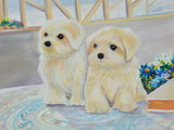 white puppy oil painting on canvas