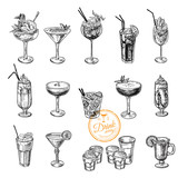 Fototapety Hand drawn sketch set of alcoholic cocktails.