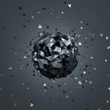 Fototapety Abstract 3D Rendering of Low Poly Sphere.