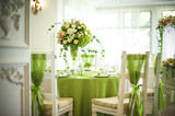 Fototapety Beautiful flowers on table in wedding day