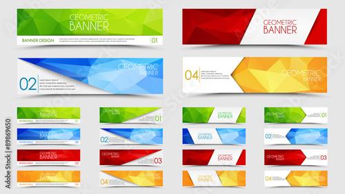 Big set of geometric polygonal banners