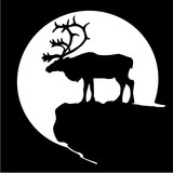 Black silhouette of a deer, like the caribou in front of the moon