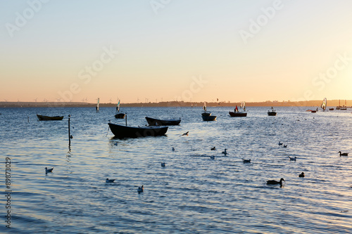 Fotobehang Koraalriffen fishing boats, Baltic sea, Bay of Puck