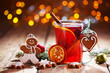 Christmas background with hot wine punch, cookies and smiling ginger bread man :)