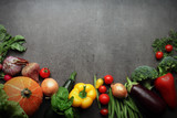 fresh farm vegetables on grey background