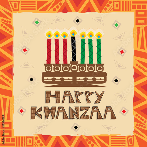 Happy Kwanzaa - Colorful and decorative greeting card that says