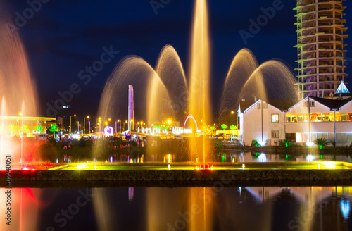 Poster Light and music fountain. Capital of Adjara - Batumi at night