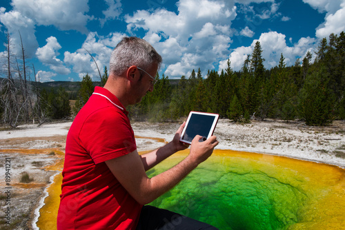 Business Man at Work, Yellowstone National Park Poster