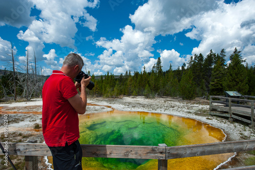The Photographer at Yellowstone National Park Poster