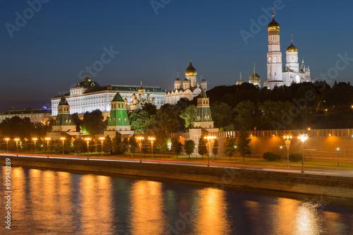 Nacht Blick auf Kreml Burg in Moskau, Russland