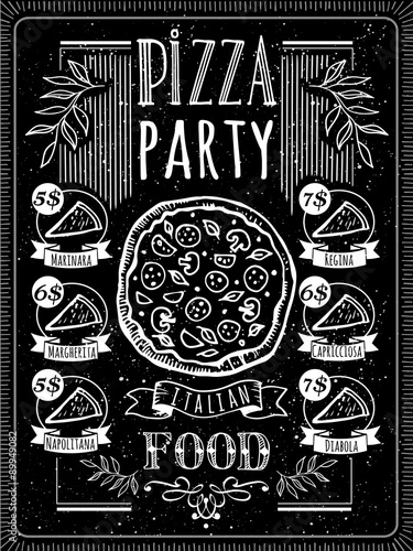 Fototapeta Vector illustration with pizza menu.
