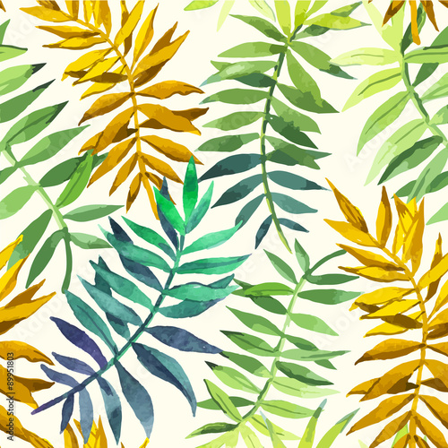 Vector illustration with tropical leaves. - 89951803