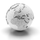 Globe with extruded continents, Europe, Middle East and Africa