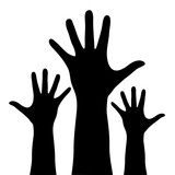 Raised hands silhouette isolated on white