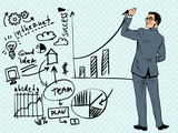 Fototapety Businessman drawing business concept of success