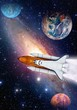 Outer space shuttle rocket launch spaceship universe planet earth. Elements of this image furnished by NASA.