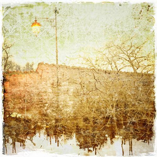 Fototapeta Grunge background with urban scene illustration