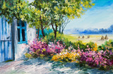 Fototapety oil painting landscape - garden near the house, colorful flowers, summer forest