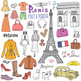Paris doodles elements. Hand drawn set with eiffel tower, taxi triumf arch, models and facion elements, cat and french bulldog. Drawing doodle collection, isolated on white